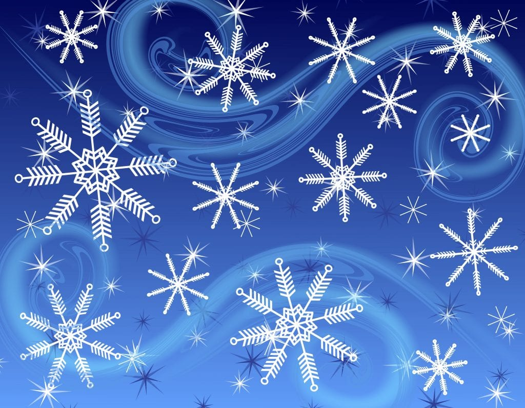A dark blue background pattern featuring a collage of various snowflakes fading into the background with wispy wind