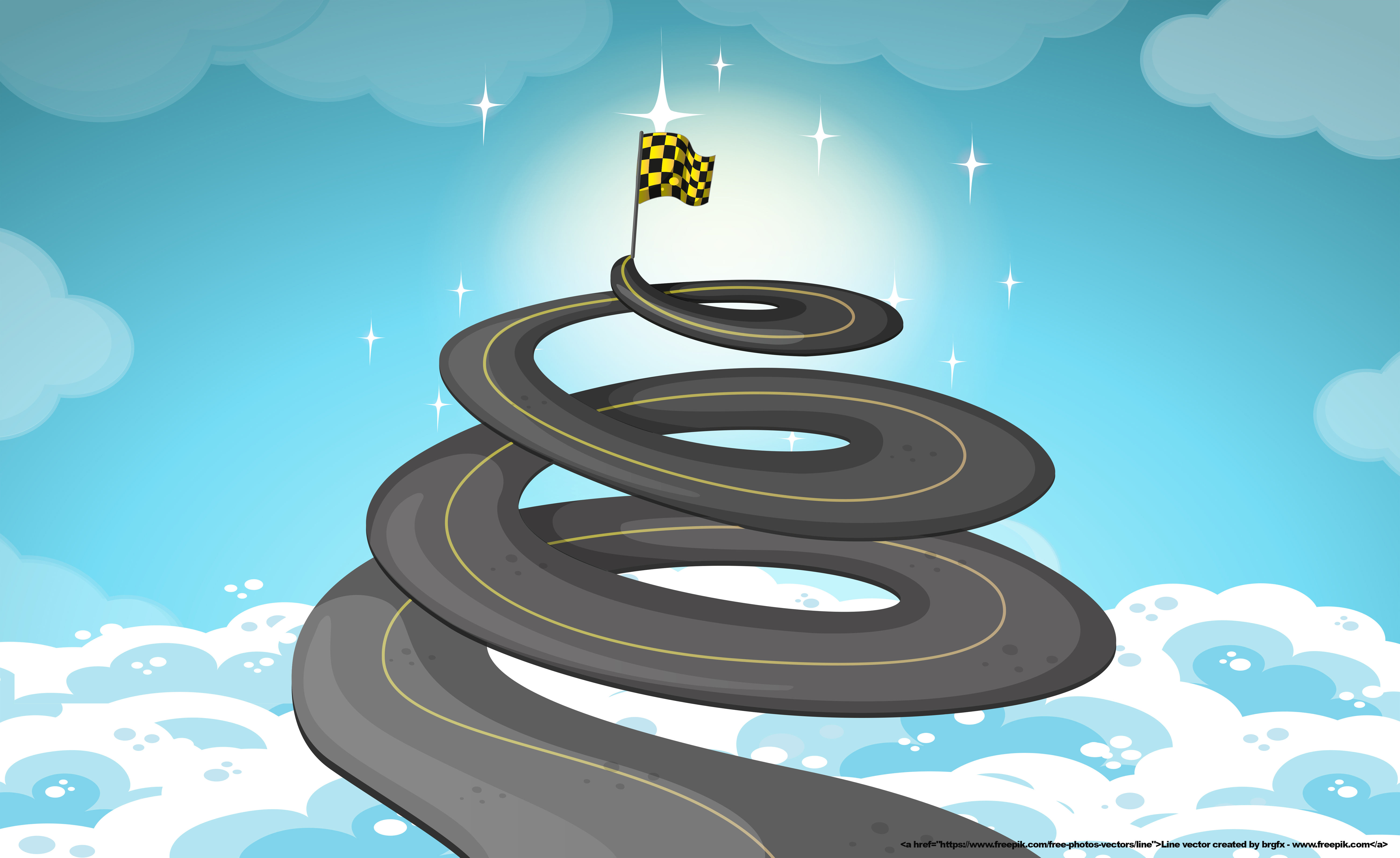 Road goes up in the sky illustration